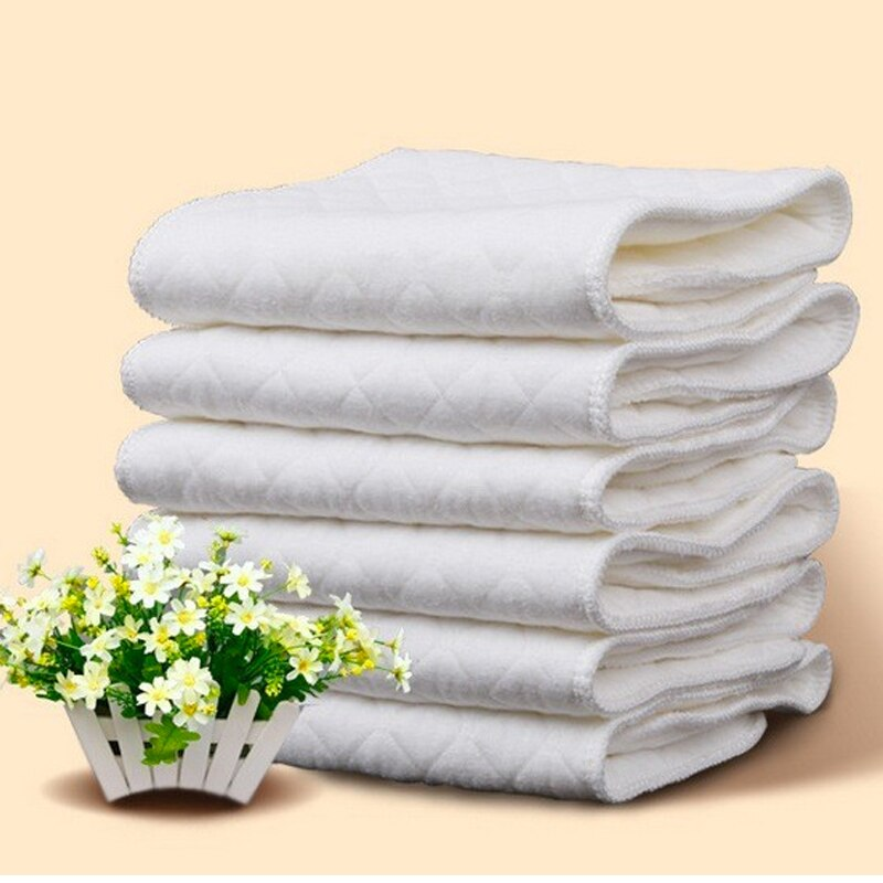 New Reusable baby Diapers Cloth Diaper Inserts 1 piece 3 Layer Insert 100% Cotton Washable babies care Eco-friendly diaper 10pcs
