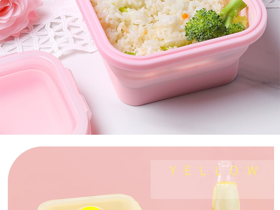 Silicone Collapsible Lunch Box Food Storage Container Bento BPA Free Microwavable Portable Picnic Camping Rectangle Outdoor Box